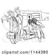 Cartoon Of A Black And White Famale Airport Taxi Worker Ready To Transport Men Royalty Free Vector Clipart
