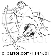 Cartoon Of A Black And White Female Airplane Factory Worker With A Man Yelling Out Of A Window Between Her Legs Royalty Free Vector Clipart