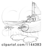 Cartoon Of A Black And White Man Flying A Toy Plane Near Guns On An Airplane Royalty Free Vector Clipart