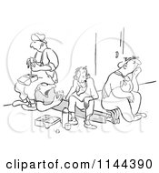 Cartoon Of Black And White Unenthused Workers Eating Sandwiches And Sitting On Their Friend On Their Lunch Break Royalty Free Vector Clipart