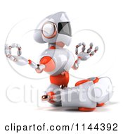 Clipart Of A 3d White And Orange Male Techno Robot Meditating 2 Royalty Free CGI Illustration