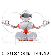 Clipart Of A 3d White And Orange Male Techno Robot Meditating 1 Royalty Free CGI Illustration