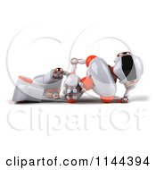 Clipart Of A 3d White And Orange Male Techno Robot Reclined Royalty Free CGI Illustration