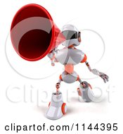 Clipart Of A 3d White And Orange Male Techno Robot Announcing With A Megaphone 1 Royalty Free CGI Illustration