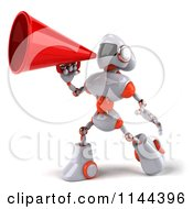 Clipart Of A 3d White And Orange Male Techno Robot Announcing With A Megaphone 2 Royalty Free CGI Illustration