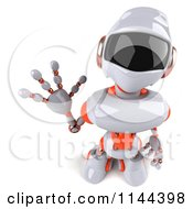 3d White And Orange Male Techno Robot Looking Up And Waving