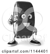 Clipart Of A 3d Tire Mascot Holding A Thumb Up Royalty Free CGI Illustration