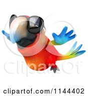 Clipart Of A 3d Flying Macaw Parrot Wearing Sunglasses Royalty Free CGI Illustration