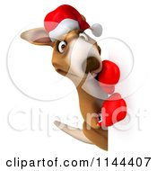 Clipart Of A 3d Aussie Christmas Kangaroo Boxer Holding A Sign 2 Royalty Free CGI Illustration
