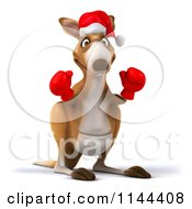 Clipart Of A 3d Aussie Christmas Kangaroo Boxer Ready To Fight Royalty Free CGI Illustration