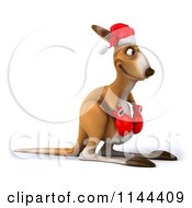 Clipart Of A 3d Aussie Christmas Kangaroo Boxer Facing Right Royalty Free CGI Illustration