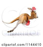 Clipart Of A 3d Aussie Christmas Kangaroo Boxer Hopping 2 Royalty Free CGI Illustration