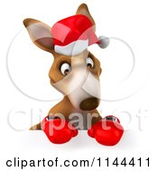 Clipart Of A 3d Aussie Christmas Kangaroo Boxer Holding A Sign 1 Royalty Free CGI Illustration