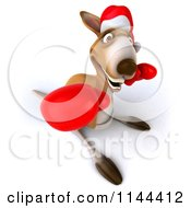Clipart Of A 3d Aussie Christmas Kangaroo Boxer Punching Royalty Free CGI Illustration