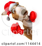 Clipart Of A 3d Aussie Christmas Kangaroo Boxer Holding A Sign 3 Royalty Free CGI Illustration