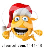 Clipart Of A 3d Happy Christmas Goldfish Wearing A Santa Hat 5 Royalty Free CGI Illustration by Julos