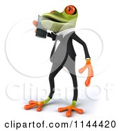 Clipart Of A 3d Formal Springer Frog Talking On A Cell Phone 2 Royalty Free CGI Illustration