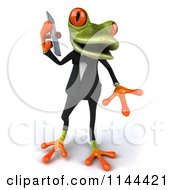Clipart Of A 3d Formal Springer Frog Talking On A Cell Phone 3 Royalty Free CGI Illustration