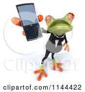 Clipart Of A 3d Formal Springer Frog Holding Out A Cell Phone Royalty Free CGI Illustration