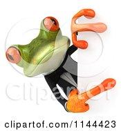 Clipart Of A 3d Formal Springer Frog Holding A Sign Board 4 Royalty Free CGI Illustration