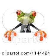 Clipart Of A 3d Formal Springer Frog Holding A Sign Board 5 Royalty Free CGI Illustration