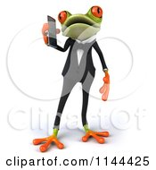Clipart Of A 3d Formal Springer Frog Talking On A Cell Phone 1 Royalty Free CGI Illustration