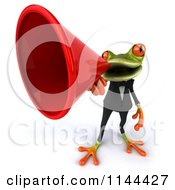 Clipart Of A 3d Business Springer Frog Announcing Through A Megaphone 2 Royalty Free CGI Illustration