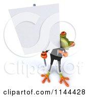 Clipart Of A 3d Formal Springer Frog Holding A Sign Board 1 Royalty Free CGI Illustration