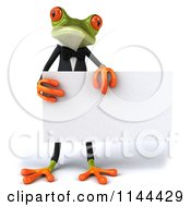 Clipart Of A 3d Formal Springer Frog Holding A Sign Board 2 Royalty Free CGI Illustration