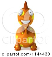 Clipart Of A 3d Happy Orange Spotted Dinosaur Smiling Royalty Free CGI Illustration by Julos