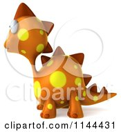 Clipart Of A 3d Orange Spotted Dinosaur Facing Left Royalty Free CGI Illustration