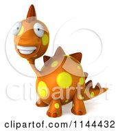 Clipart Of A 3d Smiling Orange Spotted Dinosaur Royalty Free CGI Illustration