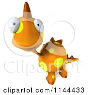 Clipart Of A 3d Curious Orange Spotted Dinosaur Royalty Free CGI Illustration