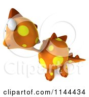 Clipart Of A 3d Orange Spotted Dinosaur Facing Left 2 Royalty Free CGI Illustration