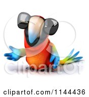 Clipart Of A 3d Presenting Macaw Parrot Wearing Sunglasses Royalty Free CGI Illustration