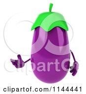 Clipart Of A 3d Eggplant Mascot Presenting Royalty Free CGI Illustration
