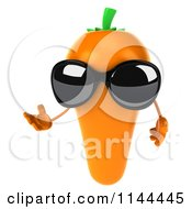 Clipart Of A 3d Carrot Mascot Wearing Sunglasses And Presenting Royalty Free CGI Illustration