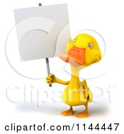 3d Yellow Duck Holding A Sign