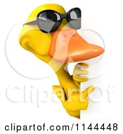 Clipart Of A 3d Yellow Duck Wearing Sunglasses And Pointing At A Sign Royalty Free CGI Illustration by Julos