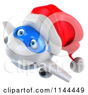 Clipart Of A 3d Christmas Airplane Mascot Wearing A Santa Hat 3 Royalty Free CGI Illustration