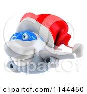 Clipart Of A 3d Christmas Airplane Mascot Wearing A Santa Hat 2 Royalty Free CGI Illustration
