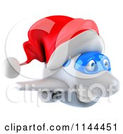 Clipart Of A 3d Christmas Airplane Mascot Wearing A Santa Hat 1 Royalty Free CGI Illustration