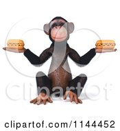 Clipart Of A 3d Chimp Holding Two Hot Dogs Royalty Free CGI Illustration