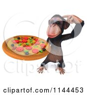 Clipart Of A 3d Thinking Chimp Holding A Pizza Royalty Free CGI Illustration
