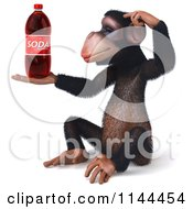 Clipart Of A 3d Thinking Chimp Holding A Soda Royalty Free CGI Illustration