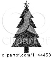 Clipart Of A Black And White Scribble Christmas Tree Royalty Free Vector Illustration by Andrei Marincas