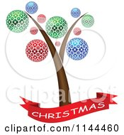 Clipart Of A Christmas Banner And Tree With Colorful Ornaments Royalty Free Vector Illustration by Andrei Marincas