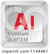Clipart Of A 3d Red And Silver Aluminum Element Keyboard Button Royalty Free Vector Illustration