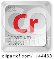 Clipart Of A 3d Red And Silver Chromium Element Keyboard Button Royalty Free Vector Illustration
