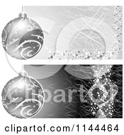 Clipart Of Grungy Silver Christmas Bauble Website Banners Royalty Free Vector Illustration